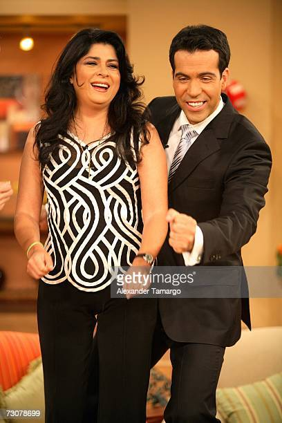 Victoria Ruffo and Felipe Viel appear on the new set of Escandalo TV for their 5th Anniversay episode on January 22 2007 in Miami Florida