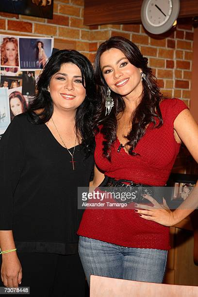 Victoria Ruffo and Sofia Vergara appear on the new set of Escandalo TV for their 5th Anniversay episode on January 22 2007 in Miami Florida
