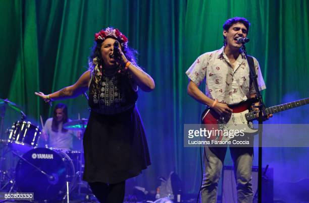 Victoria Ruiz and Joey La Neve DeFrancesco of 'Downtown Boys' perform onstage at The Broad on September 23 2017 in Los Angeles California