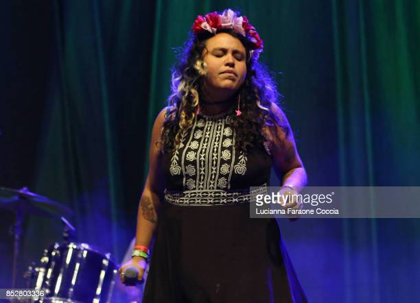 Victoria Ruiz of 'Downtown Boys' performs onstage at The Broad on September 23 2017 in Los Angeles California