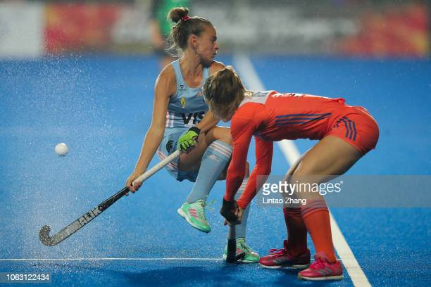 Victoria Sauze of Argentina battles for the ball with Laura Nunnink of Netherlands during the FIH Champions Trophy match between Netherlands and...