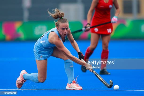 Victoria Sauze of Argentina compete during Hockey Women Semifinals on Day 11 of Lima 2019 Pan American Games at Hockey Field of Complejo Deportivo...
