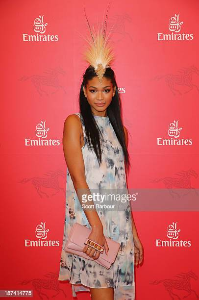 Victoria Secret Angel Chanel Iman attends the Emirates marquee during Stakes Day at Flemington Racecourse on November 9 2013 in Melbourne Australia