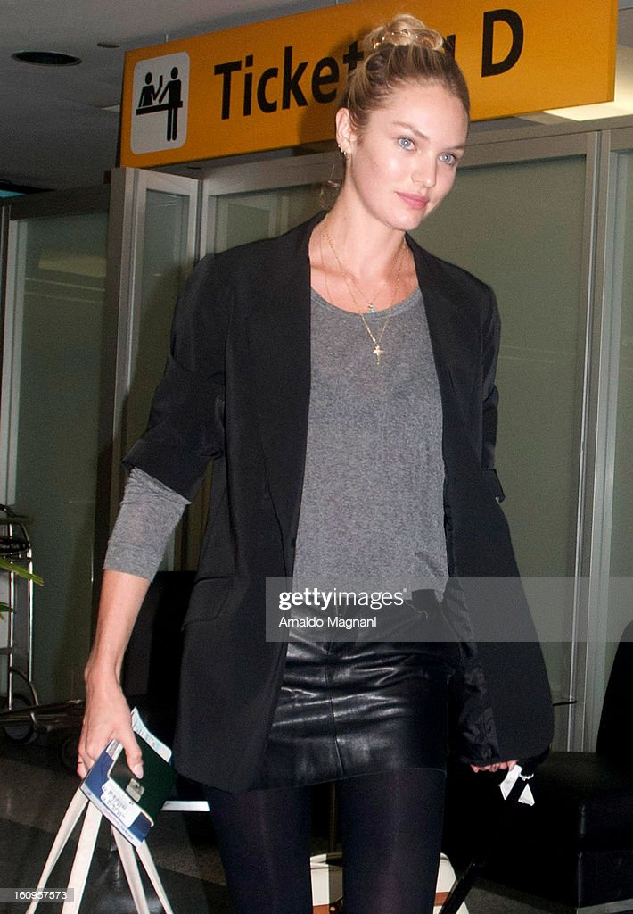 Victoria Secret model Candice Swanepool arrives at Laguardia airport on February 07, 2013 in New York City.