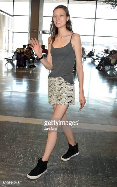 Victoria Secret model Yumi Lambert is seen at Narita International airport on July 22 2017 in Tokyo Japan