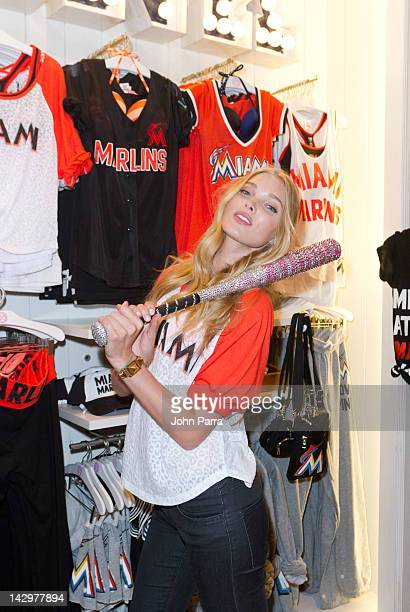 Victoria Secret Pink model Elsa Hosk attends Victoria's Secret PINK Nation Launches MLB Collection at Dolphin Mall on April 16 2012 in Miami Florida
