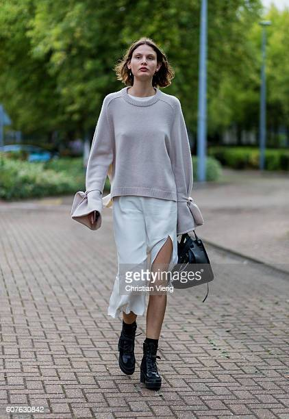 Victoria Sekrier outside Mulberry during London Fashion Week Spring/Summer collections 2017 on September 18 2016 in London United Kingdom