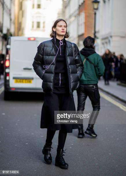 Victoria Sekrier wearing puffer jacket seen outside Mulberry during London Fashion Week February 2018 on February 16 2018 in London England