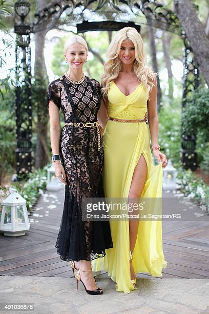 Victoria Silvstedt and Lady Amanda Cronin attend the wedding party of Gareth Wittstock and Roisin Galvin on September 4 2015 in SaintJeanCapFerrat...