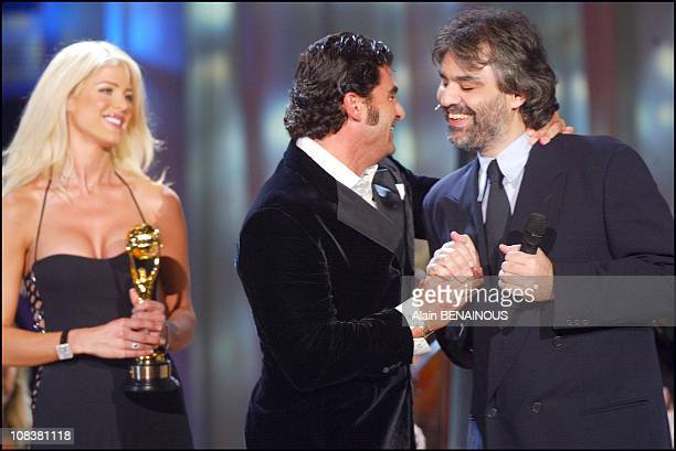 Victoria Silvstedt Andrea Bocelli and Alberto Tomba in Monaco on March 06 2002