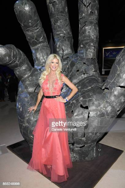 Victoria Silvstedt attends the cocktail for the inaugural 'MonteCarlo Gala for the Global Ocean' honoring Leonardo DiCaprio at the Monaco Garnier...
