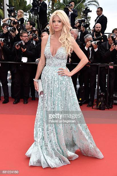 Victoria Silvstedt attends the Slack Bay premiere during the 69th annual Cannes Film Festival at the Palais des Festivals on May 13 2016 in Cannes...
