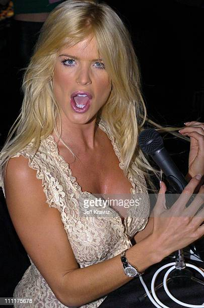 Victoria Silvstedt during The 46th Annual Grammy Awards Westwood One Backstage at the Grammys Day 1 at Staples Center in Los Angeles California...