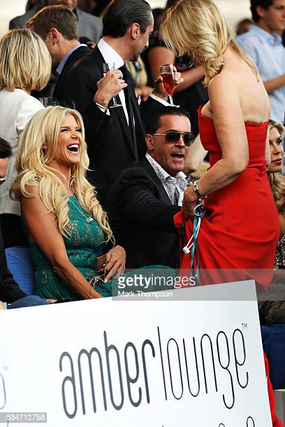 Victoria Silvstedt laughs at the Amber Lounge fashion show during previews to the Monaco Formula One Grand Prix at Circuit de Monaco on May 27, 2016...