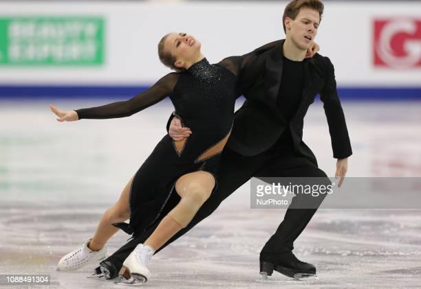 Victoria Sinitsina and Nikita Katsalapov of Russia compete in the Ice Dance Rhythm Dance during day three of the ISU European Figure Skating...