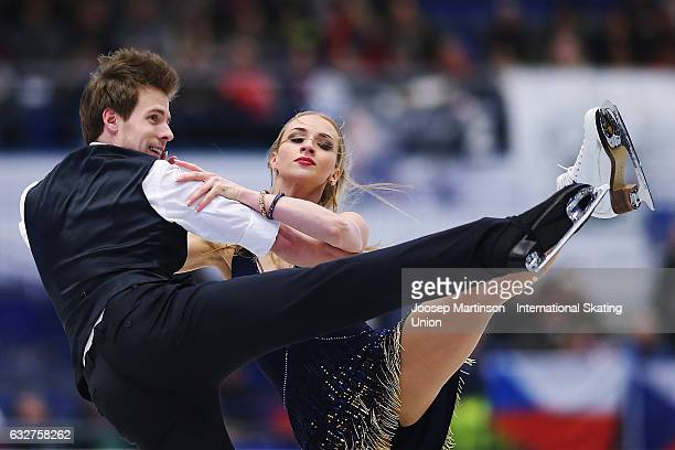 Victoria Sinitsina and Nikita Katsalapov of Russia compete in the Ice Dance Short Dance during day 2 of the European Figure Skating Championships at...