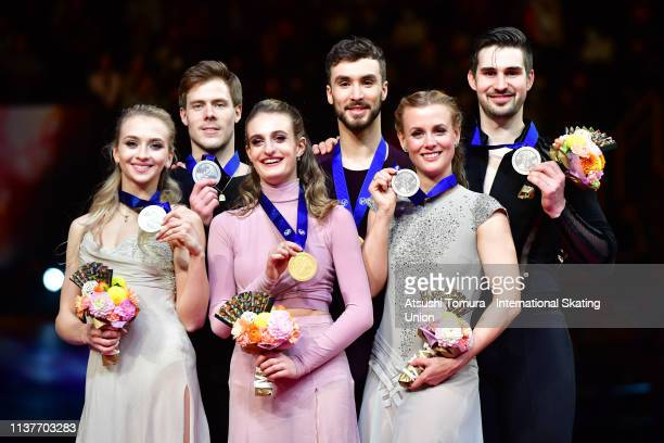 Victoria Sinitsina and Nikita Katsalapov of Russia gold medalists Gabriella Papadakis and Guillaume Cizeron of France and bronze medalists Madison...