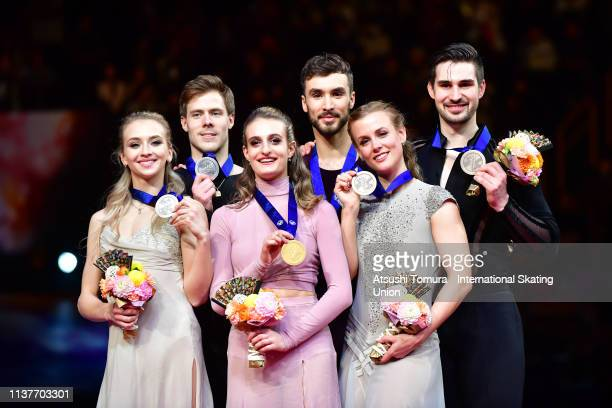 Victoria Sinitsina and Nikita Katsalapov of Russia gold medalists Gabriella Papadakis and Guillaume Cizeron of France and bronze medalists Madison...