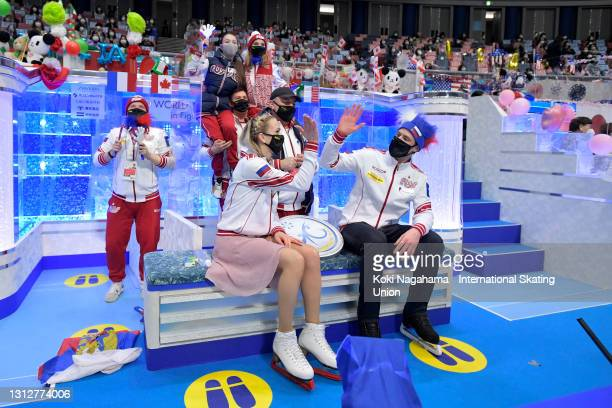 Victoria Sinitsina and Nikita Katsalapov of Russia high five at the kiss and cry after competing in the Ice Dance Free Dance on day two of ISU World...