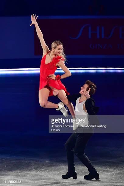 Victoria Sinitsina and Nikita Katsalapov of Russia perform in the exhibition gala during day 4 of the ISU Team Trophy at Marine Messe Fukuoka on...