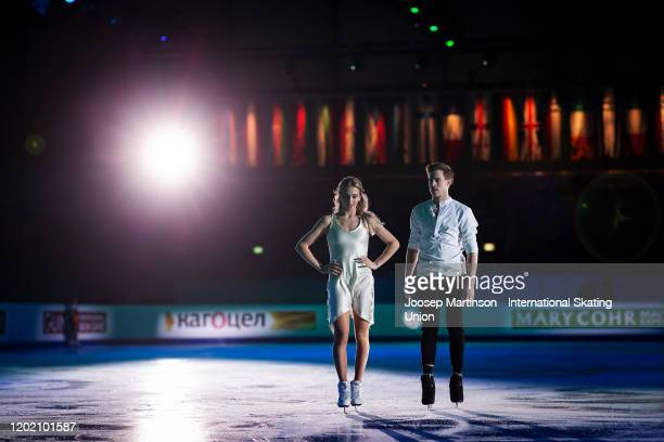 Victoria Sinitsina and Nikita Katsalapov of Russia performs in the Gala Exhibition during day 5 of the ISU European Figure Skating Championships at...