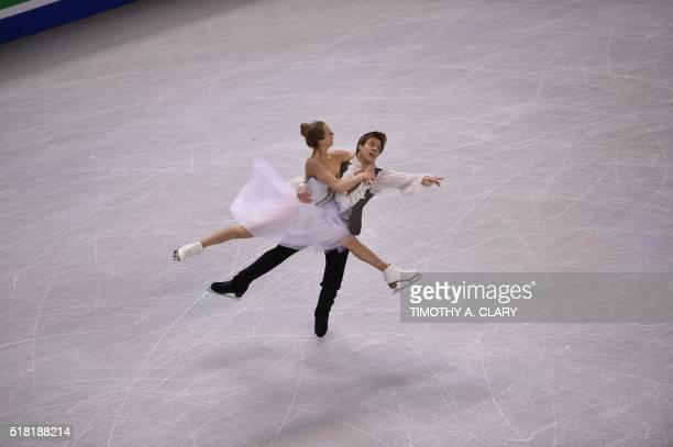 Victoria Sinitsina and Nikita Katsalapov of Russia skate during the Ice Dance short dance at the ISU World Figure Skating Championships at TD Garden...