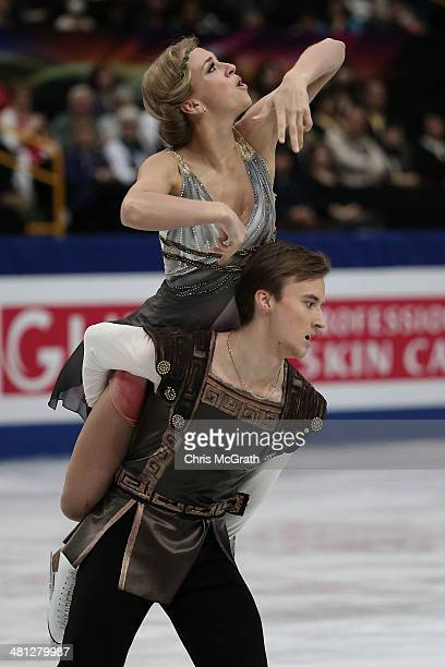 Victoria Sinitsina and Ruslan Zhiganshin of Russia compete in the Ice Dance Free Dance during ISU World Figure Skating Championships at Saitama Super...