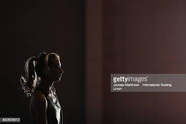 Victoria Sinitsina of Russia warms up during day 3 of the European Figure Skating Championships at Ostravar Arena on January 27, 2017 in Ostrava,...