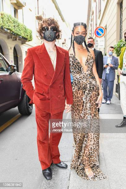Victoria Stella Doritou and Irama are seen arriving at the Four Season Hotel ahead of the Etro Fashion Show on July 15 2020 in Milan Italy