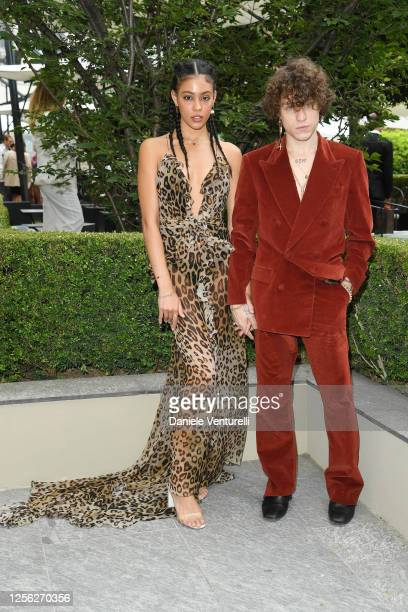 Victoria Stella Doritou and Irama are seen on the front row at the Etro fashion show on July 15 2020 in Milan Italy