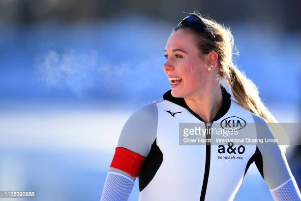 Victoria Stirnemann of Germany celebrate after the Ladies 1500M sprint race Day two of Junior World Cup Speed Skating at the Oulunkylaen...