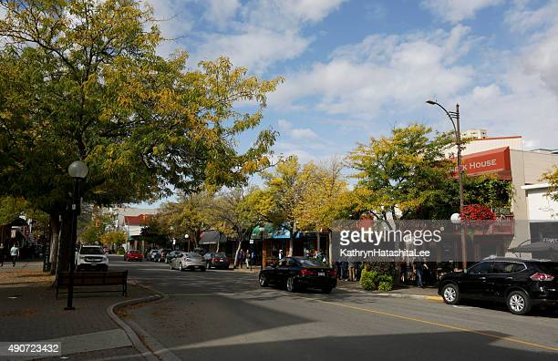 victoria street, downtown kamloops, british columbia, canada in autumn - kamloops stock pictures, royalty-free photos & images