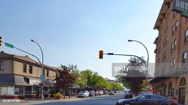 victoria street in historic treelined downtown kamloops - kamloops stock pictures, royalty-free photos & images