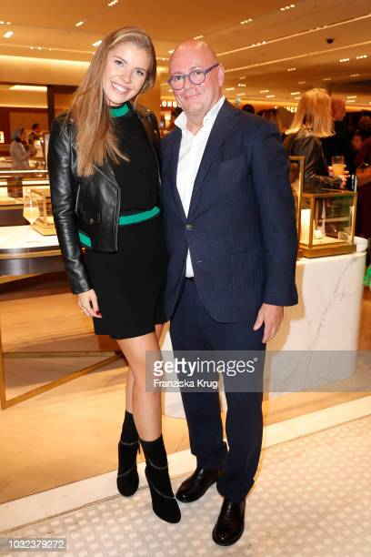 Victoria Svarowski and Andre Maeder during the grand opening of the new Oberpollinger ground floor 'Muenchens Neue Prachtmeile' at Oberpollinger on...