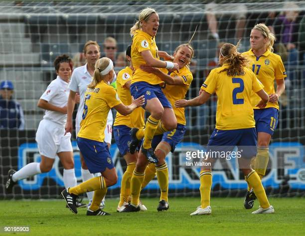 Victoria Svensson of Sweden celebrates after scoring a goal during the UEFA Women's Euro 2009 group C match between Sweden and England at the Turkul...