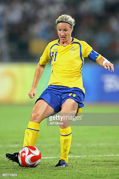 Victoria Svensson of Sweden runs with the ball during the Women's First Round Group E match between Sweden and Canada at the Workers' Stadium on Day...