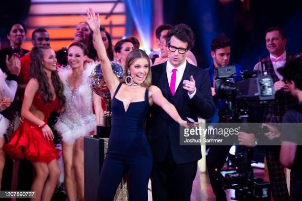 Victoria Swarovski and Daniel Hartwich are seen on stage during the preshow Wer tanzt mit wem Die grosse Kennenlernshow of the television competition...