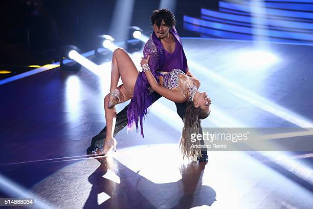 Victoria Swarovski and Erich Klann perform on stage during the 1st show of the television competition 'Let's Dance' on March 11 2016 in Cologne...