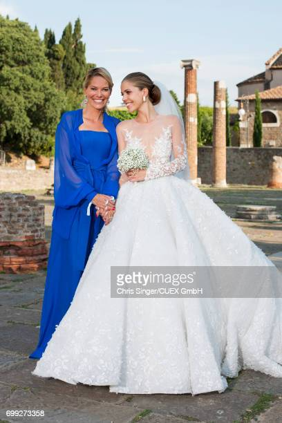 Victoria Swarovski and her mother Alexandra Swarovski attend the wedding of Victoria Swarovski and Werner Muerz on June 16 2017 in Trieste Italy