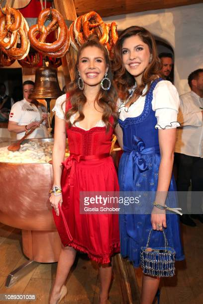 Victoria Swarovski and her sister Victoria Swarovski during the 28th Weisswurstparty at Hotel Stanglwirt on January 25, 2019 in Going near...