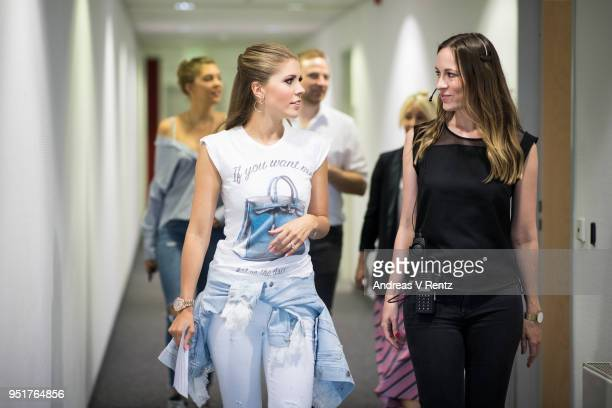 Victoria Swarovski and Paulina Swarovski backstage during the behind the scenes visit ahead of the 5th 'Let's Dance' show of the 11th season on April...