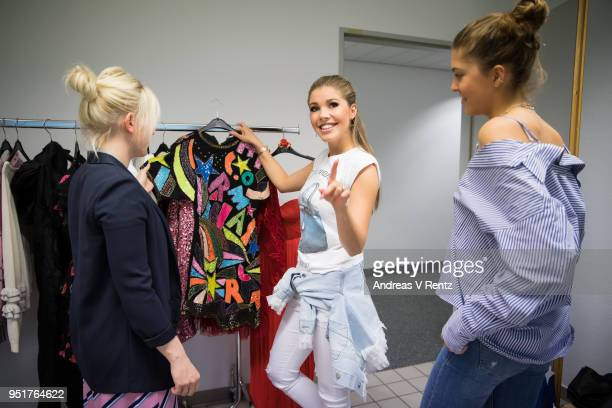 Victoria Swarovski chooses a dress with the help of her sister Paulina Swarovski during the behind the scenes visit ahead of the 5th 'Let's Dance'...