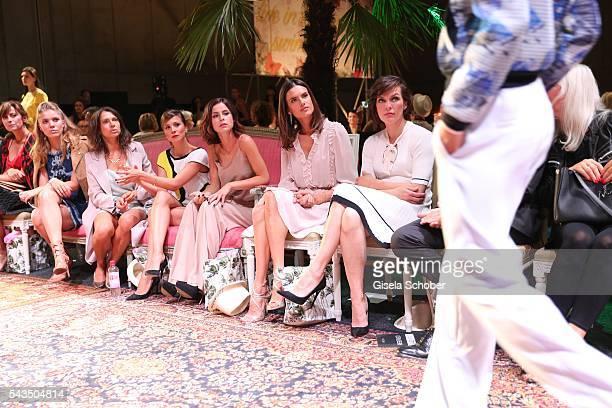 Victoria Swarovski Jana Pallaske Aylin Tezel Lena MeyerLandrut Alessandra Ambrosio and Milla Jovovichduring the Marc Cain fashion show spring/summer...