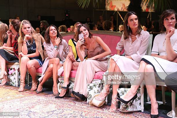 Victoria Swarovski Jana Pallaske Lena MeyerLandrut Alessandra Ambrosio Milla Jovovich during the Marc Cain fashion show spring/summer 2017 at CITY...