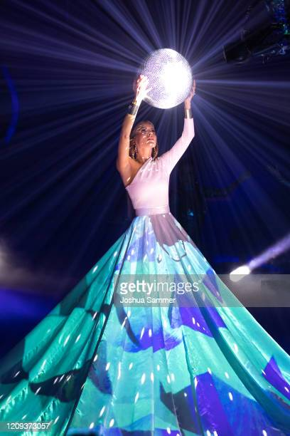 """Victoria Swarovski performs on stage during the 1st show of the 13th season of the television competition """"Let's Dance"""" on February 28, 2020 in..."""