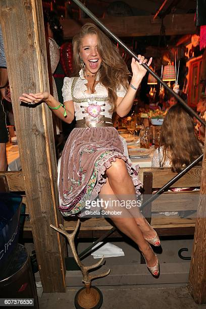 Victoria Swarovski wearing a dirndl by Lola Paltinger during the opening of the oktoberfest 2016 at the 'Kaeferschaenke' beer tent at Theresienwiese...