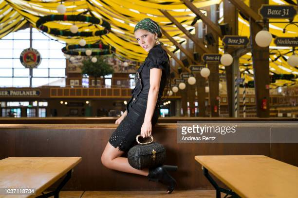 Victoria Swarovski wearing Krueger poses at the Winzerer Faehndl Tent ahead of the Oktoberfest 2018 at Theresienwiese on September 18 2018 in Munich...