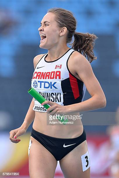 Victoria Tachinski from Canada celebrates broke medal in women's 4x400 meters relay final during the IAAF World U20 Championships at the Zawisza...