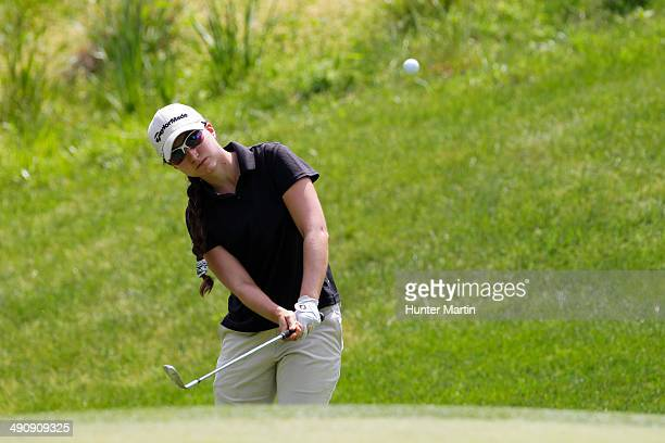 Victoria Tanco of Argentina chips onto the green on the eighth hole during the first round of the Kingsmill Championship presented by JTBC on the...