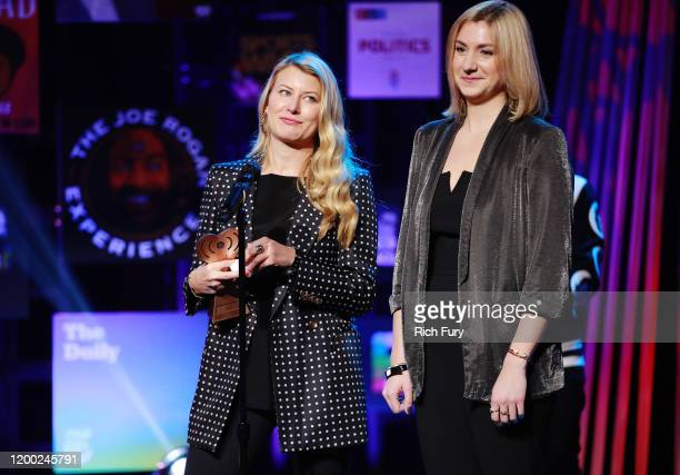 Victoria Thompson and Taylor Dunn accept the Podcast of the Year award for 'The Dropout' onstage at the 2020 iHeartRadio Podcast Awards at the...
